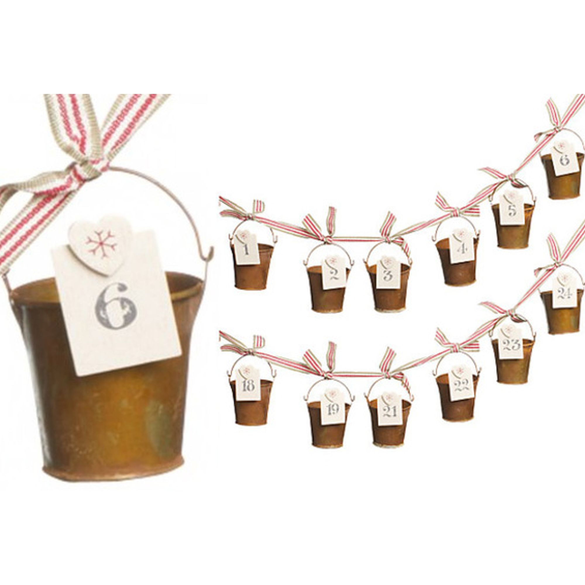 EAST OF INDIA VINTAGE RUSTY BUCKET CHRISTMAS ADVENT CALENDAR GARLAND ...